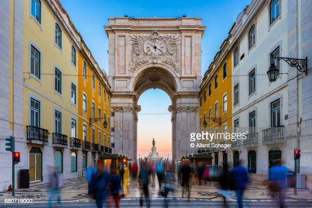 Rua Augusta Arch in Lisbon Portugal around Sunset