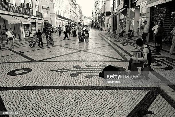 rua augusta in lisbon - rua stock pictures, royalty-free photos & images