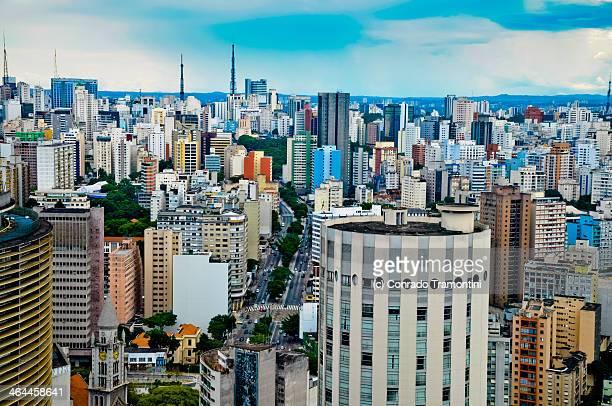 rua da consolação vis ta de cima - são paulo stock pictures, royalty-free photos & images