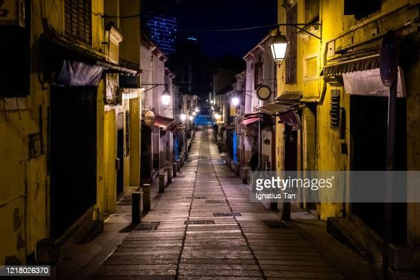 rua da felicidade at night, macau - macao stock pictures, royalty-free photos & images