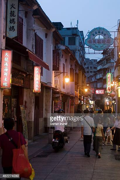 """Rua da Felicidade """"Fok Long San Kai"""", a street of restored 19th century shop houses in what was once a thriving red-light district."""