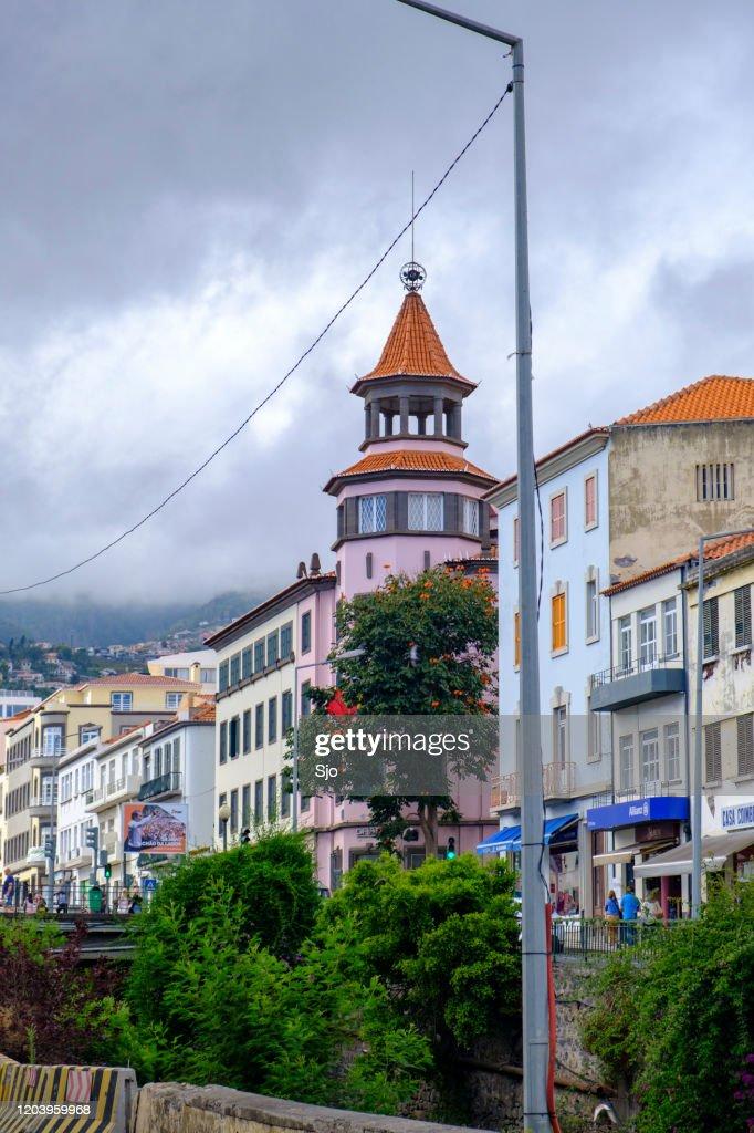 Rua de Janeiro next to the Ribeira de Santa Luzia in Funchal on Madeira island during summer day : Stock Photo