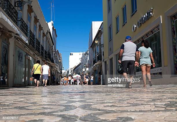 rua de santo antonio in faro, portugal. - rua stock pictures, royalty-free photos & images