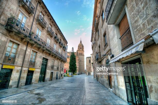 rua mayor street and the new cathedral of salamanca, spain - städtische straße stock pictures, royalty-free photos & images