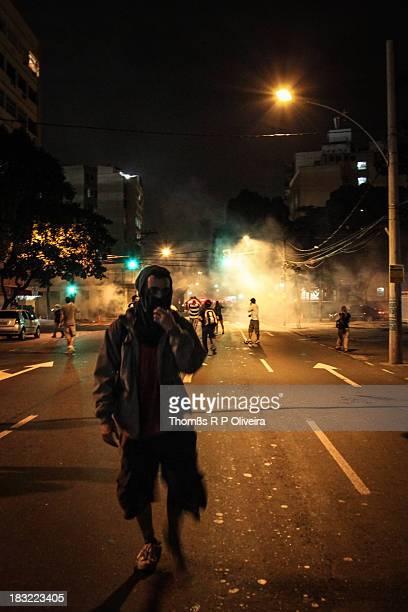 Rua São Francisco Xavier, Tijuca, Rio de Janeiro, Brasil. Clashes between police and protesters.