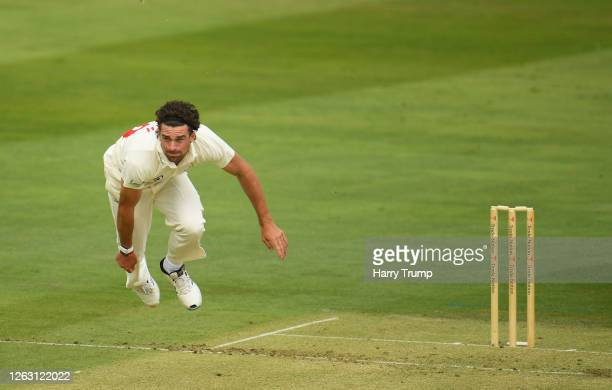 Ruaidhri Smith of Glamorgan bowls during Day One of the Bob Willis Trophy match between Somerset and Glamorgan at The Cooper Associates County Ground...