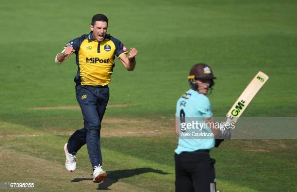 Ruaidhri Smith of Glamorgan celebrates the wicket of Will Jacks of Surrey during the Vitality Blast match between Glamorgan and Surrey at Sophia...