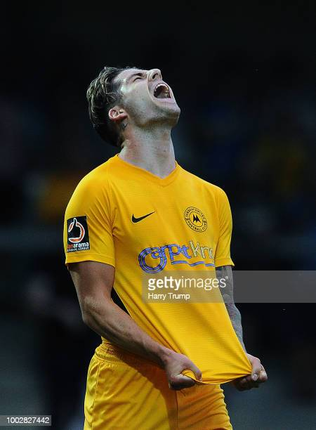 Ruairi Keating of Torquay United reacts at the final whistle during the PreSeason Friendly match between Torquay United and Cardiff City at Plainmoor...