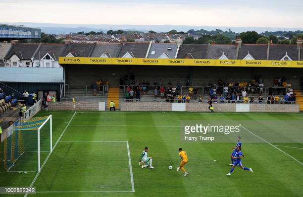Ruairi Keating of Torquay United scores his sides first goal during the PreSeason Friendly match between Torquay United and Cardiff City at Plainmoor...