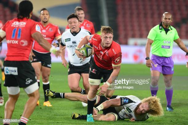 Ruan Ackermann of the Lions during the Super Rugby match between Emirates Lions and Sunwolves at Emirates Airline Park on July 01 2017 in...