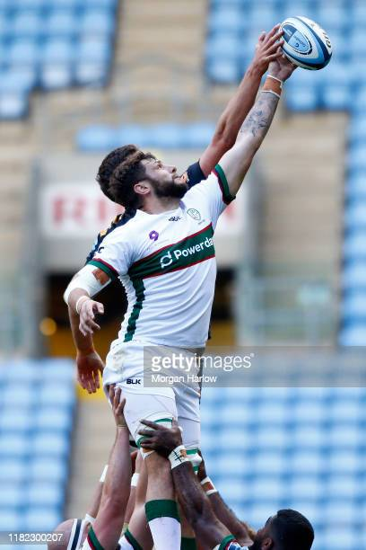 Ruan Botha of London Irish catches the ball from a line out during the Gallagher Premiership Rugby match between Wasps and London Irish at the Ricoh...