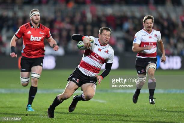 Ruan Combrinck of the Lions charges forward during the Super Rugby Final match between the Crusaders and the Lions at AMI Stadium on August 4 2018 in...