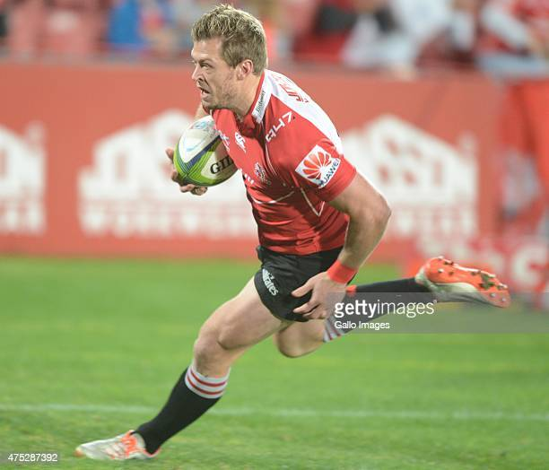Ruan Combrinck of the Lions during the Super Rugby match between Emirates Lions and Waratahs at Emirates Airline Park on May 30, 2015 in...