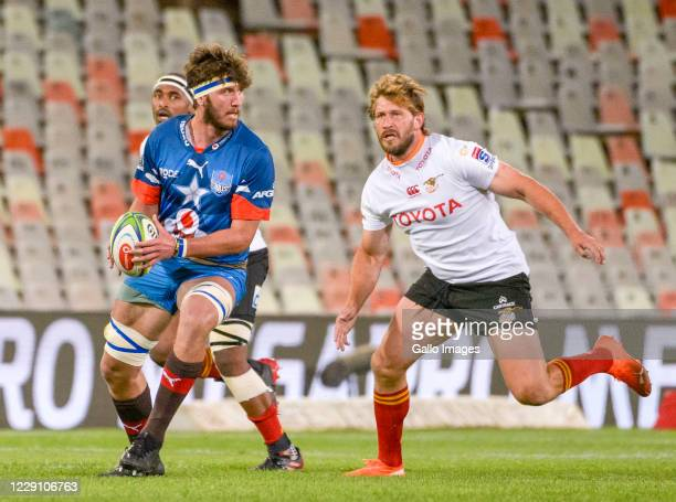 Ruan Nortje of Vodacom Bulls and Frans Steyn of Toyota Cheetahs during the Super Rugby Unlocked match between the Toyota Cheetahs and Vodacom Bulls...