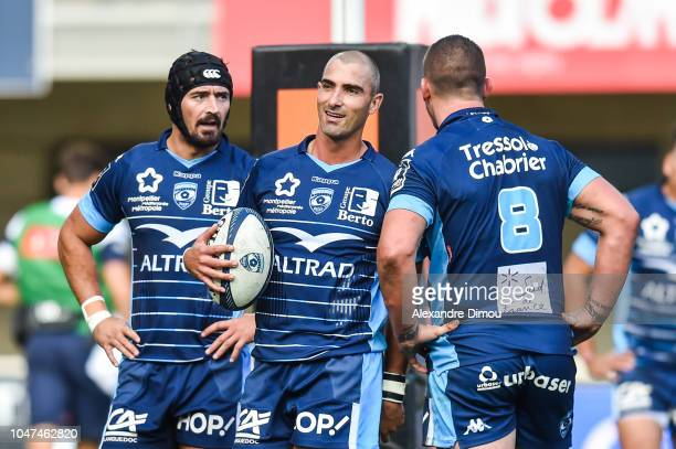 Ruan Pienaar and Alexandre Dumoulin and Louis Picamoles of Montpellier during the Top 14 match between Montpellier and Toulon at Altrad Stadium on...