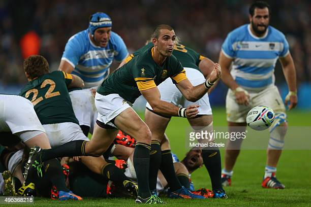 Ruan Pienaar of South Africa feeds the ball from the scrum during the 2015 Rugby World Cup Bronze Final match between Argentina and South Africa at...