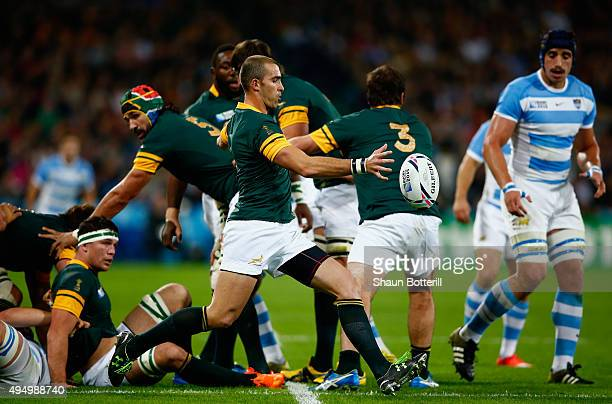 Ruan Pienaar of South Africa kicks clear during the 2015 Rugby World Cup Bronze Final match between South Africa and Argentina at the Olympic Stadium...