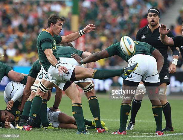 Ruan Pienaar of South Africa kicks the ball upfield during the Rugby Championship match between South Africa Springboks and the New Zealand All...
