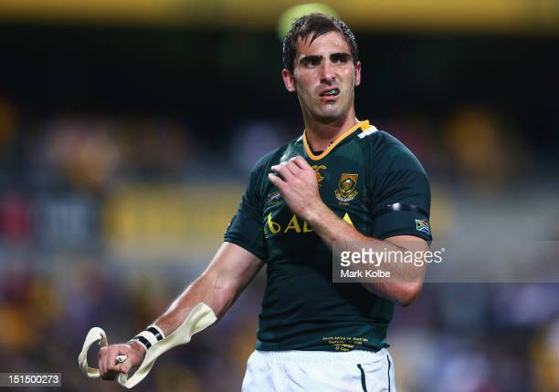 Ruan Pienaar of the Springboks looks dejected after losing during Rugby Championship match between the Australian Wallabies and the South African...