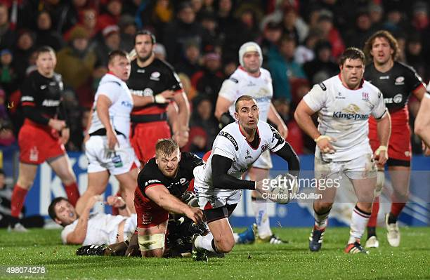 Ruan Pienaar of Ulster is tackled by George Kruis of Saracens during the European Champions Cup Pool 1 rugby game at Kingspan Stadium on November 20...