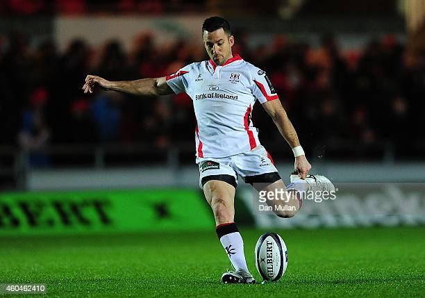 Ruan Pienaar of Ulster kicks a conversion during the European Rugby Champions Cup match between Scarlets and Ulster Rugby at Parc y Scarlets on...