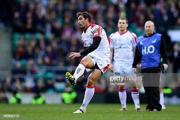 Ruan Pienaar of Ulster kicks a penalty during the Heineken Cup quarter final match between Saracens and Ulster at Twickenham Stadium on April 6 2013...