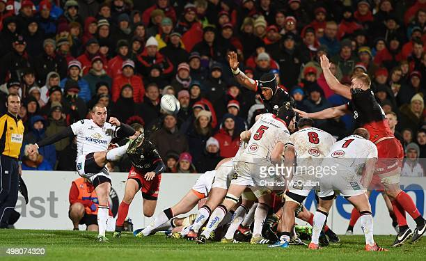 Ruan Pienaar of Ulster kicks clear during the European Champions Cup Pool 1 rugby game at Kingspan Stadium between Ulster and Saracens on November 20...