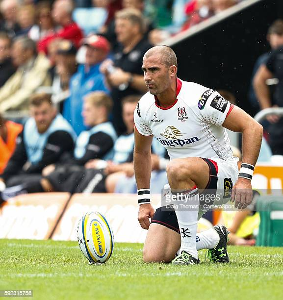 Ruan Pienaar of Ulster lines up a kick at goal during the preseason friendly match between Exeter Chiefs and Ulster at Sandy Park on August 20 2016...