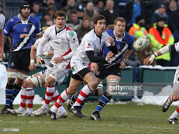Ruan Pienaar of Ulster passes the ball during the Heineken Cup pool 4 match between Bath and Ulster at the Recreation Ground on December 18, 2010 in...