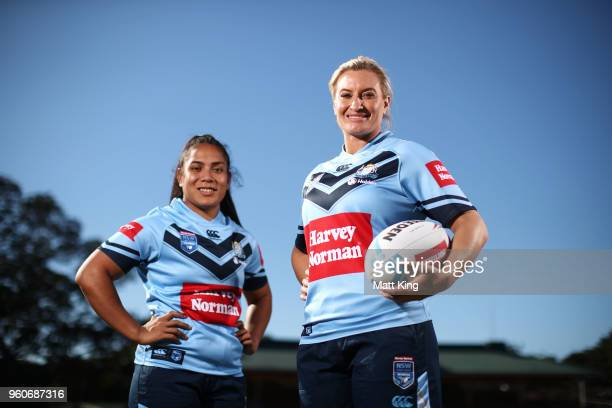 Ruan Sims and Simaima Taufa of NSW pose during a Women's State of Origin media opportunity at North Sydney Oval on May 21 2018 in Sydney Australia