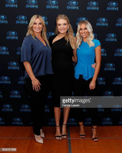 Ruan Sims Erin Molan and Allana Ferguson attend the Nine Network 2018 NRL Launch at the Australian Maritime Museum on February 28 2018 in Sydney...
