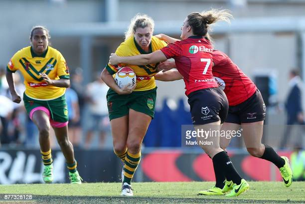 Ruan Sims of Australia in action during the Women's Rugby League World Cup match between the Canadian Ravens and the Australian Jillaroos at Southern...