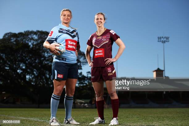 Ruan Sims of NSW and Karina Brown of Queensland pose during a Women's State of Origin media opportunity at North Sydney Oval on May 21 2018 in Sydney...
