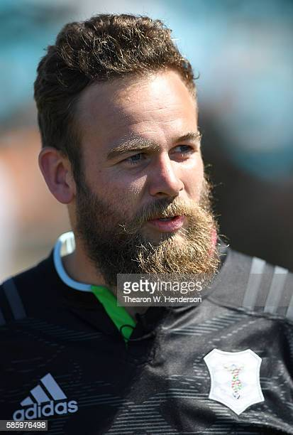 Ruaridh Jackson fly half of Harlequins looks on during Harlequins Training at Rich May Memorial Field on August 4 2016 in Palo Alto California