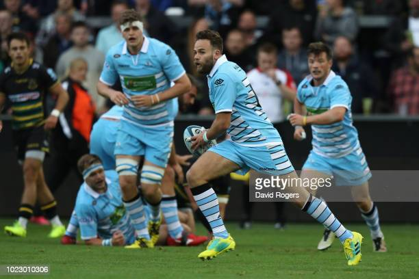 Ruaridh Jackson of Glasgow Warriors breaks with the ball during the pre season friendly match between Northampton Saints and Glasgow Warriors at...