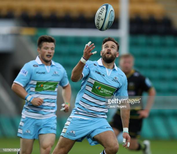 Ruaridh Jackson of Glasgow Warriors catches the ball during the pre season friendly match between Northampton Saints and Glasgow Warriors at...