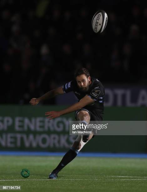Ruaridh Jackson of Glasgow Warriors kicks a conversion during the Glasgow Warriors and Southern Kings Guinness Pro 14 match at Scotstoun Stadium on...