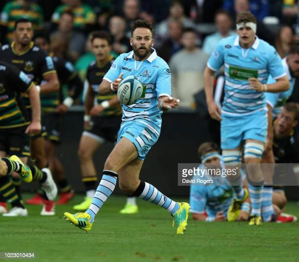 Ruaridh Jackson of Glasgow Warriors passes the ball during the pre season friendly match between Northampton Saints and Glasgow Warriors at...