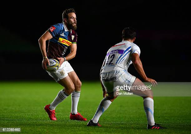 Ruaridh Jackson of Harlequins A takes on Tom Hendrickson of Exeter Braves during the Aviva Premiership A League match between Harlequins A and Exeter...