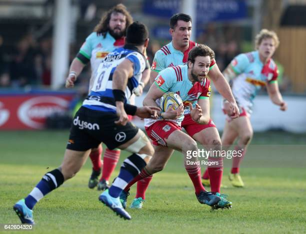 Ruaridh Jackson of Harlequins breaks with the ball during the Aviva Premiership match between Bath Rugby and Harlequins at the Recreation Ground on...