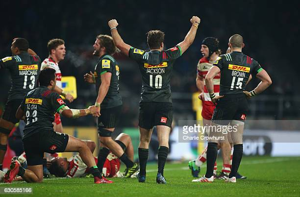 Ruaridh Jackson of Harlequins celebrates victory after the Aviva Premiership Big Game 9 match between Harlequins and Gloucester Rugby at Twickenham...