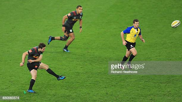 Ruaridh Jackson of Harlequins kicks a penalty during the Aviva Premiership Big Game 9 match between Harlequins and Gloucester Rugby at Twickenham...