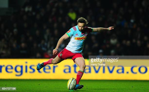 Ruaridh Jackson of Harlequins kicks during the Aviva Premiership match between Bristol Rugby and Harlequins at Ashton Gate on February 10 2017 in...