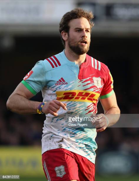 Ruaridh Jackson of Harlequins looks on during the Aviva Premiership match between Bath Rugby and Harlequins at the Recreation Ground on February 18...