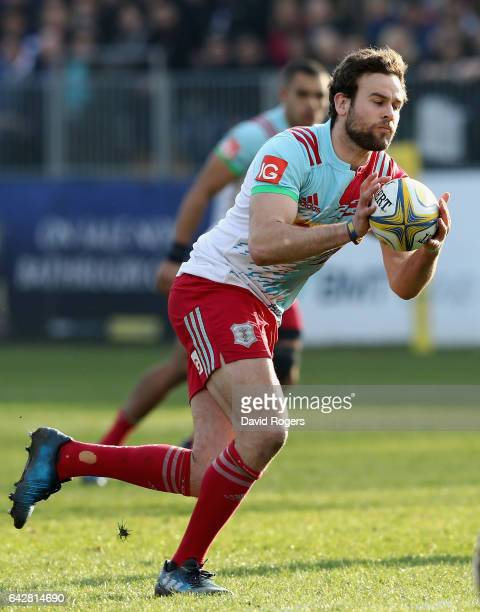 Ruaridh Jackson of Harlequins runs with the ball during the Aviva Premiership match between Bath Rugby and Harlequins at the Recreation Ground on...
