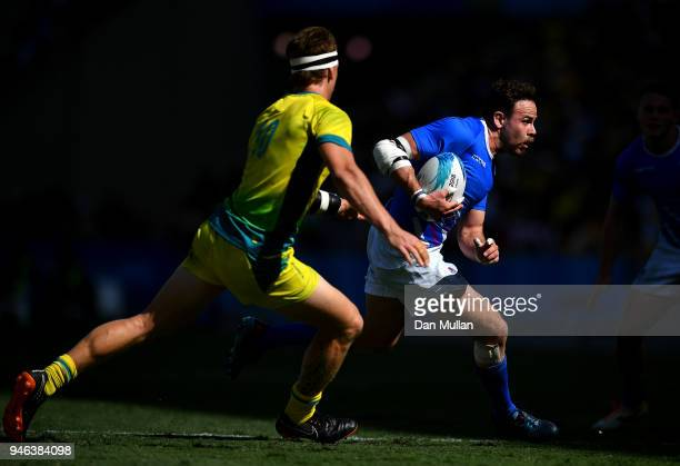 Ruaridh Jackson of Scotland takes on Ben O'Donnell of Australia during the Rugby Sevens Men's Placing 56th match between Australia and Scotland on...