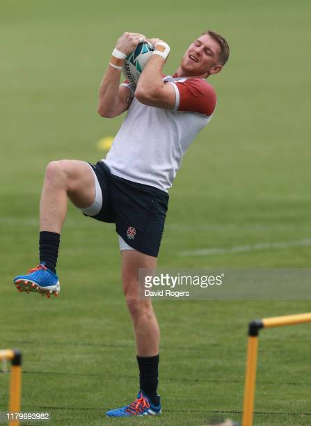 Ruaridh McConnochie catches the ball during the England training session held at the Fuchu Asahi Football Park on October 08, 2019 in Tokyo, Japan....