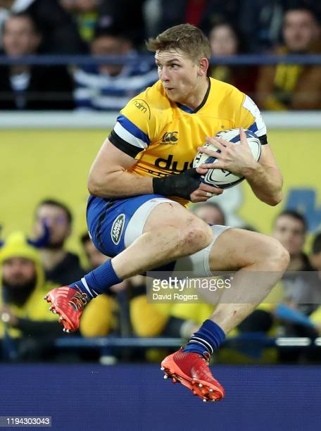 Ruaridh McConnochie of Bath catches the ball during the Heineken Champions Cup Round 4 match between ASM Clermont Auvergne and Bath Rugby at Parc des...