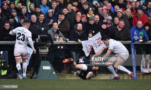 Ruaridh McConnochie of Bath goes over for a try during the Heineken Champions Cup Round 6 match between Ulster Rugby and Bath Rugby at Ravenhill...