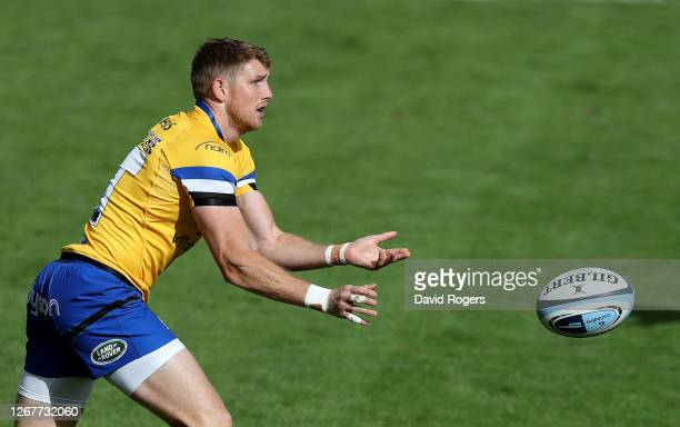 Ruaridh McConnochie of Bath passes the ball during the Gallagher Premiership Rugby match between Leicester Tigers and Bath Rugby at Welford Road on...